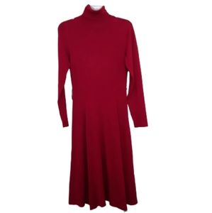 Dress Barn M red turtleneck sweater dress